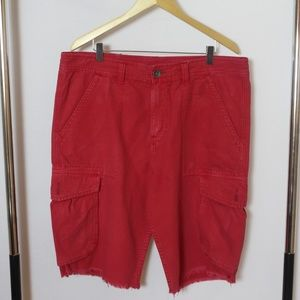 True Religion Red Cargo Shorts with distressed hem